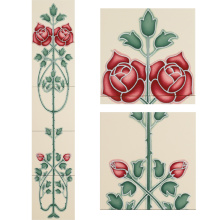 Stovax Rose and Bud Tile Set, набор плитки 5 шт