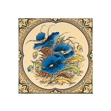 Stovax Blue Poppies with Floral Border Tile, плитка 1 шт